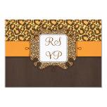 Brown Orange Leopard Print Wedding RSVP Cards Invites