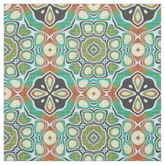 Brown Orange Lime Green Hip Ornate Art Motif Fabric