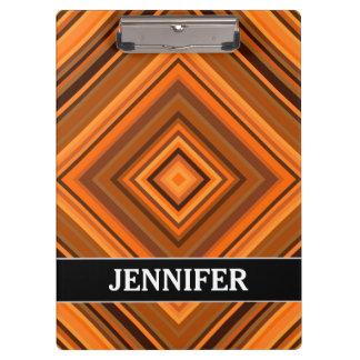Brown & Orange Squares Pattern + Custom Name Clipboard