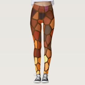 Brown Orange Yellow Mosaic Abstract Leggings