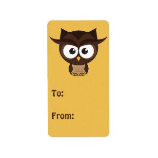 Brown Owl Address Label