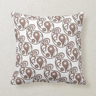 Brown Paisley Throw Pillow