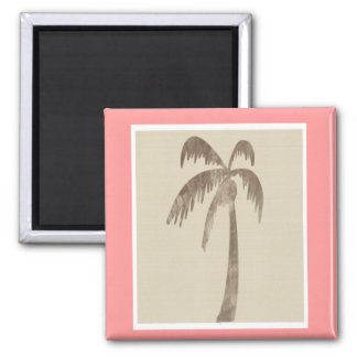 Brown Palm Tree on Beige Magnet