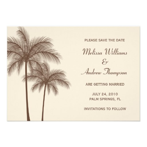 Brown Palm Tree Save the Date Announcement