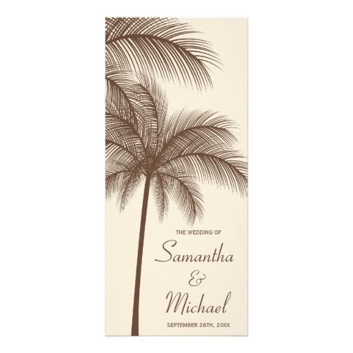 Brown Palm Tree Tropical Wedding Program Personalized Rack Card