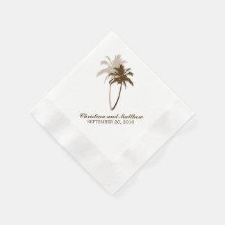 Brown Palm Trees Beach Wedding Disposable Napkins