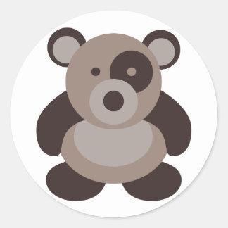 Brown Panda Bear Round Sticker