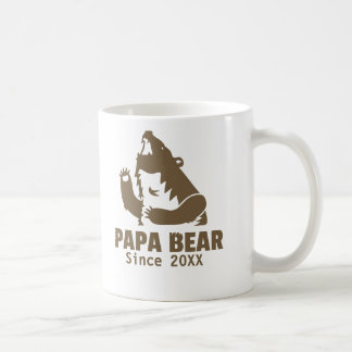 Brown Papa Bear Since Year of Fatherhood Dad Mug