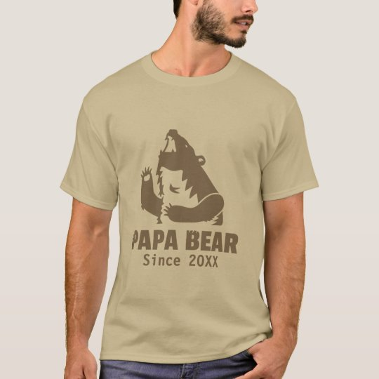 Brown Papa Bear Since Year of Fatherhood For Dad T-Shirt