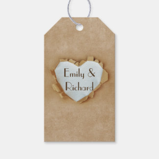 Brown Paper Bag Rustic Heart Wedding Party Gift Tags