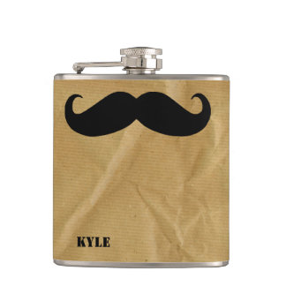 Brown Paper Bag with Mustache Custom Flask