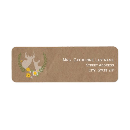 Brown Paper Inspired Wildflower & Deer Labels