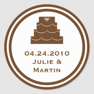 Brown party cake wedding favor tag seal label stickers