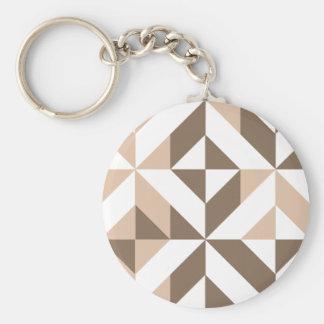Brown Patchwork Geometric Deco Cube Pattern Key Chain