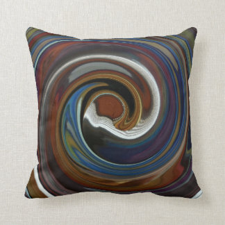 Brown Patchwork Swirl Throw Pillow