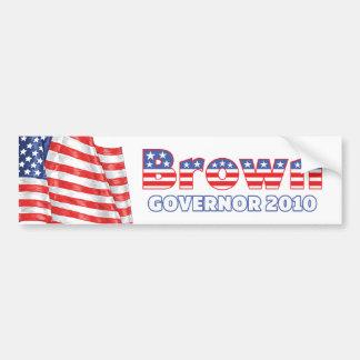Brown Patriotic American Flag 2010 Elections Bumper Sticker