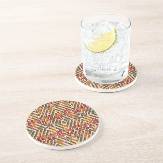Brown Pattern, Drinking Coasters - Tribal Slices