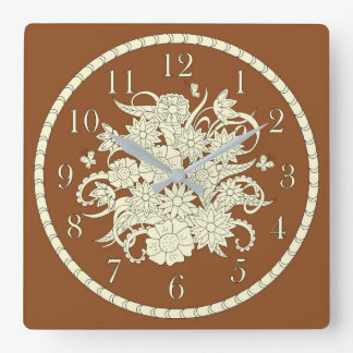 Brown pattern with bouquet into sends it square wall clock