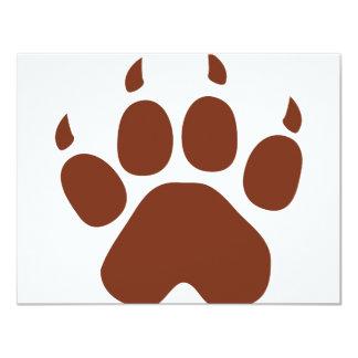 "brown paw icon 4.25"" x 5.5"" invitation card"