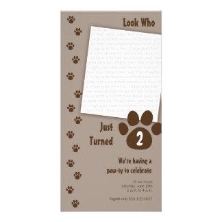 Brown Paw Print Birthday Invitation Customized Photo Card