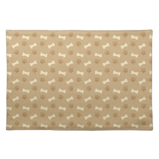 Brown Paw Print Bone Pattern Placemat