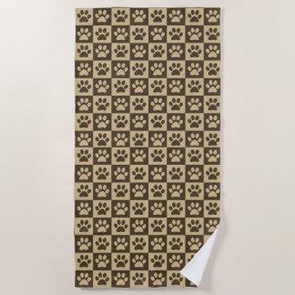 Brown Paw Prints Beach Towel