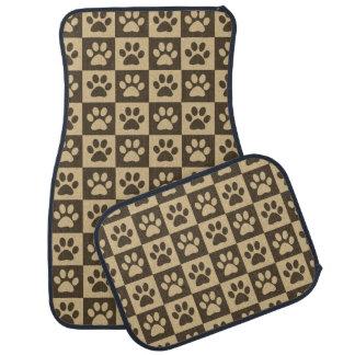 Brown Paw Prints Pattern Car Mat