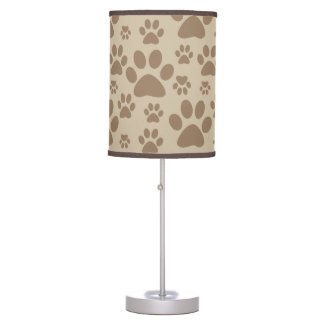 Brown Paw Prints Pattern Table Lamp