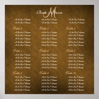 Brown peach wedding seating charts print