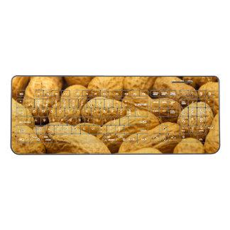 Brown peanut nut pattern wireless keyboard