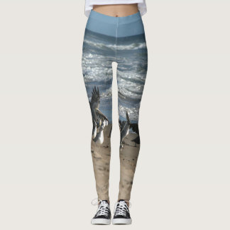 Brown Pelican Birds Beach All Over Print Leggings