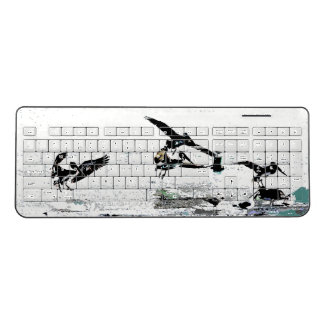 Brown Pelican Birds Wildlife Sea Wireless Keyboard