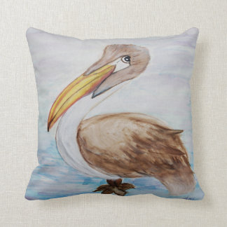 Brown pelican coastal bird throw pillow