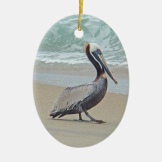 Brown Pelican on Beach Ceramic Ornament