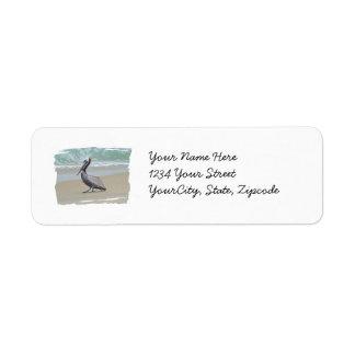 Brown Pelican on Beach Return Address Label