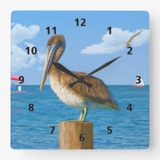 Brown Pelican on Post Square Wall Clock