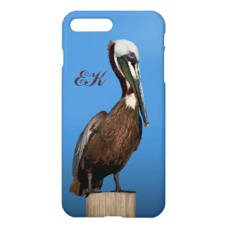 Brown Pelican Perching on a Post, Monogram iPhone 7 Plus Case