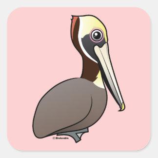Brown Pelican Square Sticker