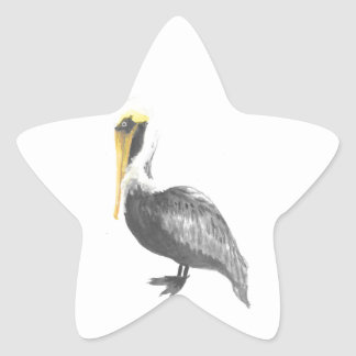 Brown Pelican Star Sticker