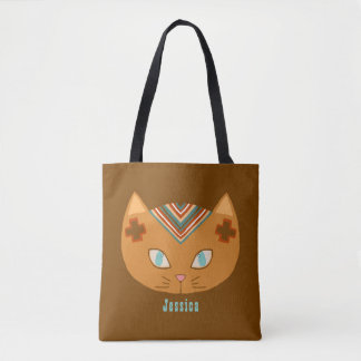Brown Personalized Southwestern Cat Tote Bag