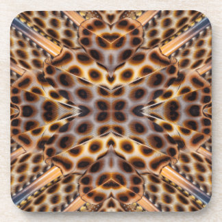 Brown pheasant feather kaleidoscope beverage coaster