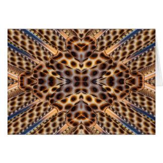 Brown pheasant feather kaleidoscope card
