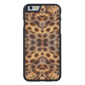 Brown pheasant feather kaleidoscope carved® maple iPhone 6 slim case