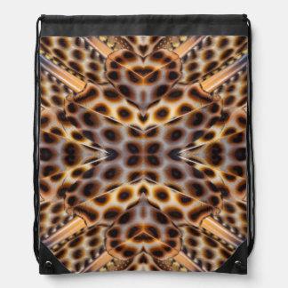 Brown pheasant feather kaleidoscope drawstring bag