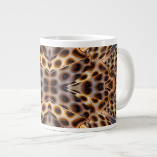 Brown pheasant feather kaleidoscope large coffee mug