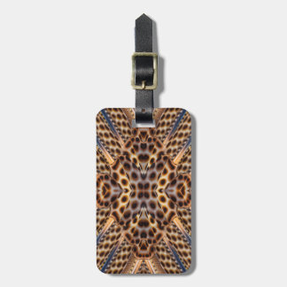 Brown pheasant feather kaleidoscope luggage tag