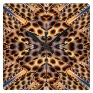 Brown pheasant feather kaleidoscope wall clocks