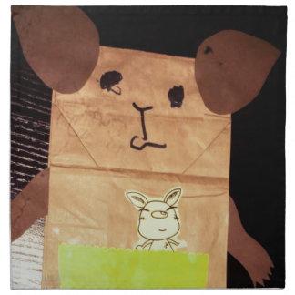 Brown piggy face napkin