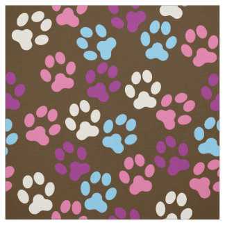 Brown Pink Blue Plum Dog Paw Prints Pattern Fabric