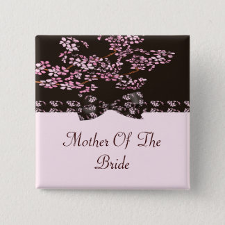 Brown & Pink Cherry Blossom Tree Wedding 2 Inch Square Button